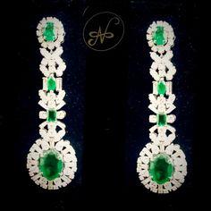 Namrata Singh Fine Jewellery - Emerald & Diamond Earrings!!!
