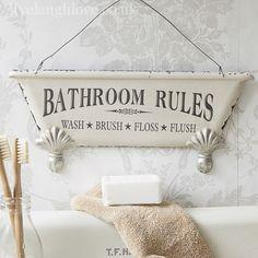 Bath Tub Hanging Sigh - Wash Brush Floss & Flush