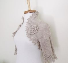 Milk Brown Cashmere Bridal Shrug With Flower by knittingshop