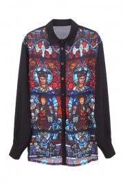 Printed Design Black Shirt  $36.99  #Romwe