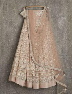 SwatiManish Lehengas SMF LEH 153 17 Khaki rose lehenga and dupatta with threadwork blouse