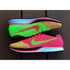 Nike Flyknit Racer.  Hyper Punch/Electric Green