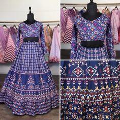 Blue vaishali silk digital printed lehenga choli