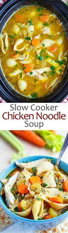Slow Cooker Chicken Noodle Soup A quick and easy home made chicken noodle soup that is pure comfort food and lick your bowl clean good! Crock Pot Soup, Crockpot Dishes, Crock Pot Slow Cooker, Crock Pot Cooking, Slow Cooker Recipes, Soup Recipes, Cooking Recipes, Healthy Recipes, Crockpot Chicken Noodle Soup