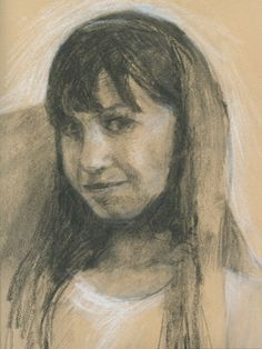 SKETCH OF ZAHRA- 12 x 9 charcoal figurative art by Susan Roden -- Susan Roden
