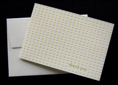 Letterpress greeting cards thank you in green by pistachiopress, $15.00