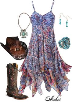 Women's+Bohemian+Style+Dresses Leave the hat off Mode Country, Estilo Country, Country Style, Country Girls Outfits, Girl Outfits, Cute Outfits, Stylish Outfits, Look Fashion, Girl Fashion