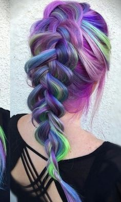 pink purple blue pastel braided rainbow dyed braid multi hair color @vividartistichairdesign