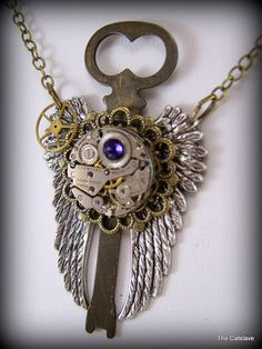 Winged Key Steam Punk Necklace Handmade by Thecatslave on Etsy, $72.00