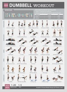 Dumbbell Exercise Workout Poster for Women - Fitness Gym Wall Charts 19x27 #Fitwirr