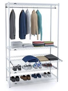 THE HOLIDAY GIFT that keeps on giving! Metro's light duty Garment Rack with sliding shelves is ideal for supplemental storage in home, loft or dressing rooms. Available in black or white powder coat finishes, this unit is easily assembled and easily customized with a variety of Super Erecta Accessories.