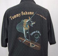 Tommy Bahama Shirt Large Hawaiian Big Daddy Chairman Marlin Embroidered Golf #TommyBahama #Hawaiian