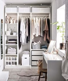 Discover the IKEA PAX wardrobe series. Design your own PAX wardrobe inside and out, from door styles, to shelves, to interior organizers and more. Dressing Pas Cher, Dressing Ikea, Dressing Rooms, Ikea Pax Wardrobe, Diy Wardrobe, Wardrobe Ideas, Ikea Pax Closet, White Wardrobe Closet, Ikea Wardrobe Storage