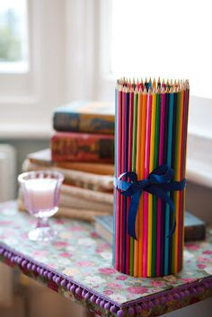 Brightly colored pencil-covered vase - learn how to make on my blog www.couturecraft.blogspot.com