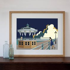 Are you interested in our modern retro art print brighton bandstand? With our brighton bandstand on the beach print you need look no further.