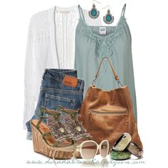 Teal top, Blue Jeans, White Sweater, Tan Hobo, Sparkly Sandals