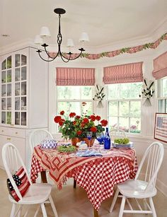 EATING AREAS : kitchen dining area,. Red/white striped shades,molding,wallpaper border of swaged fabric and ivy,candle wall sconces between windows,chandelier,red and white checked tablecloth,white spindle chairs,geraniums,built in white cabinet f - Royalty Free Images, Photos and Stock Photography :: Inmagine