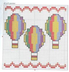 Balões ponto de cruz Cross Stitch Art, Cross Stitch Borders, Cross Stitch Alphabet, Cross Stitch Designs, Cross Stitching, Cross Stitch Embroidery, Cross Stich Patterns Free, Christmas Cross, Beading Patterns