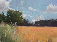 Wheatfield painting by Julian Merrow-Smith. 6-16-16