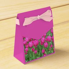 Pink Tulips Party Favor Boxes #flowers #partyideas #showerideas
