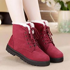59d0c4e2152 Snow boots 2018 classic heels suede women winter boots warm fur plush  Insole ankle boots women shoes hot lace-up shoes woman