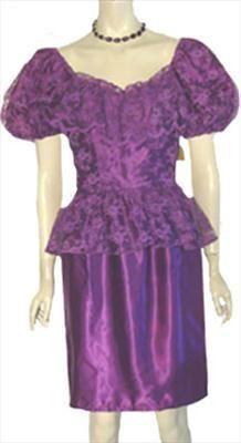 Vintage 1980s Glam Lacy Purple Dress NWT