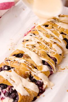 Blueberry Breakfast Braid made with crescent rolls