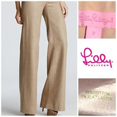 """Lilly Pulitzer Khaki Pants Lilly Pulitzer Pants are a Khaki design with  Zipper up the left side. Color Khaki/Tan V size 2. These Pants are Cute and very Comfortable. Made of 99% Cotton and 1% XLA/LASTOL. These are Wide legged in design. Inseam """"31. Length """"39.5. Laying flat """"14. This item is in Good condition, Authentic and from a Smoke And Pet free home. All Offers through the offer button ONLY. I Will not negotiate Price in the comment section. Thank You😃 Lilly Pulitzer Pants Wide Leg"""