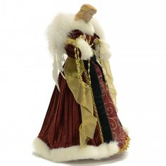 I have a blanket in the same deep burgundy that this Angel Tree Topper's gown is in and I always feel warmer that I should underneath it. Christmas Tree Themes, Christmas Tree Toppers, Christmas Angels, Christmas Fun, Holiday, Shades Of Burgundy, Deep Burgundy, Unique Tree Toppers, Glamour Dolls