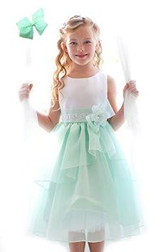 DressForLess Satin Bodice with Organza Layer Trim Skirt Flower Girl Dress, Mint, 8, (KC1226MT-8) DressForLess http://www.amazon.com/dp/B00JAMW1JW/ref=cm_sw_r_pi_dp_lkrWub072Y76E