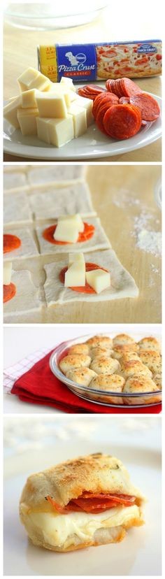 Stuffed Pizza Rolls - We LOVED these! SO easy to do and super yummy ;) I used Pillsbury pizza dough, Great Value whole milk mozzarella, and. I Love Food, Good Food, Yummy Food, Football Food, Appetizer Recipes, Appetizers, Finger Foods, Food To Make, Food Porn