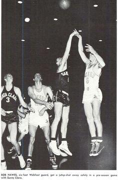 Oregon basketball player Bob Hawes takes a shot vs. Santa Clara 1952. From the 1953 Oregana (University of Oregon yearbook). www.CampusAttic.com