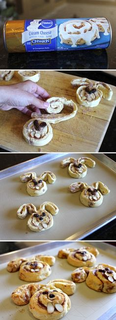 "Bunny cinnamon rolls plus many other Easter crafts and recipes "" Holiday Treats, Holiday Recipes, Holiday Desserts, Fun Desserts, Dinner Recipes, Easter Treats, Easter Food, Easter Decor, Easter Snacks"