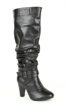 Wide Width Tall High Heel Boot with Ruched Shaft and Buckles at Ankle Tall Boots, High Heel Boots, Heeled Boots, High Heels, Deb Shops, Christmas Shopping, Plus Size Outfits, Ankle, My Style