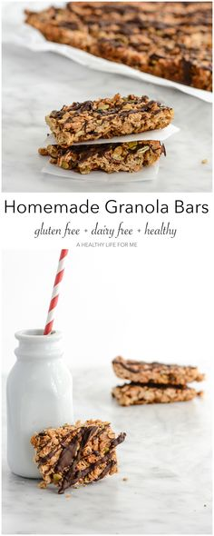 Homemade Granola Bars that are delicious, healthy, gluten free, dairy free, vegetarian and easy to make. - A Healthy Life For Me