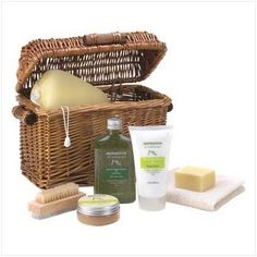 "Healing Spa Bath And Body Products Therapy Gift Basket by Furniture Creations. $22.76. Open this wicker treasure chest to discover a wealth of spa delights! Spoil yourself with soothing skin-care enriched with the goodness of olive oil, avocado and lemon. Set Includes: 2.8 oz. soap, 2.9 fl. oz. body scrub, 9.1 fl. oz. shower gel, 5.7 fl oz. body lotion, wash cloth, pumice brush and sponge in custom basket. Weight 2.4 lbs. 11 1/2"" x 6 1/2"" x 8 1/2"" high."