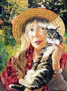 "Self-Portrait Cover Art by Joni Mitchell for ""Taming The Tiger"" Frm bd: Cats & Their Famous Owners"