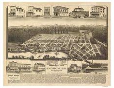 24x36 Walla Walla Washington 1884 Historic Panoramic Town Map