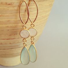 Chalcedony earrings chalcedony and moonstone earrings by AinaKai