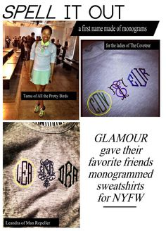 DIY: sweatshirt with your name written out with a grouping of monograms
