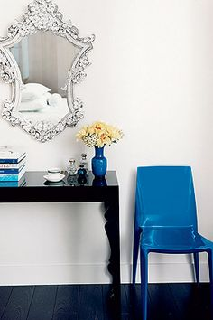 rococo mirror and simple desk for vanity