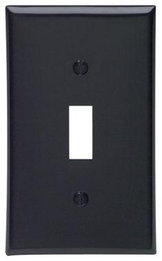Leviton 80701-E 1-Gang Toggle Device Switch Wallplate, Standard Size, Thermoplastic Nylon, Device Mount, Black