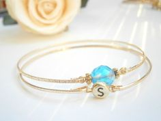 Birthstone Bangle Set - Initial Bracelet - Custom Gift Bangles - Bridesmaid Gifts - Personalized Monogram - Mommy Jewelry - Mother Bracelets