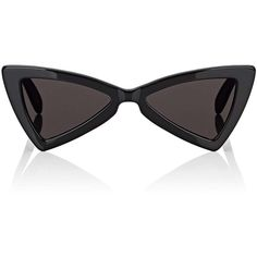 Constructed of shiny black acetate, Saint Laurent's SL 207 Jerry sunglasses are designed with triangular-shaped frames. Crafted in Italy, this glossy pair evok…