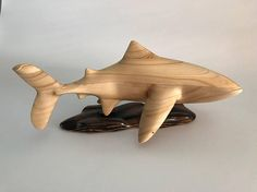 Hand carved wood Large Great White Shark art/sculpture/decor
