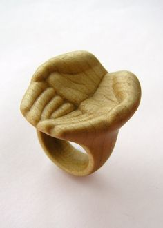 """Generous""  Hand carved wood ring by Julia Harrison - Maple, wax"