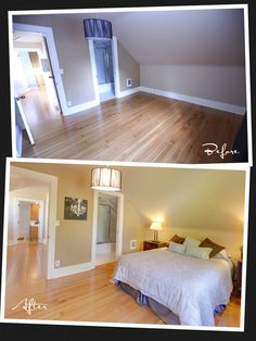 Staging helps to visualize how the furniture will be placed. Take this master bedroom for example: even thought the ceiling is sloped and low, the staging shows that a bed, along with the nightstands and the lamps, can easily fit in the space