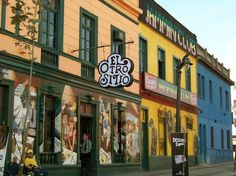 via www.mountainadventures.com     Bella Vista barrio Santiago, Chile. Cafes, bars, theaters, restaurants all jammed in this little by elvia