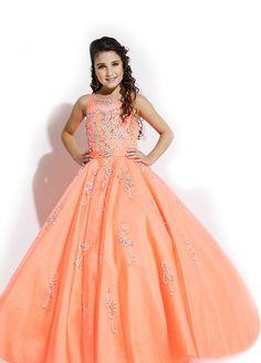 #Wishesbridal Beaded Illusion Tulle Orange Ball Gown Girls Pageant Dress B3ra0022