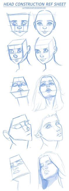 Head Construction Ref Sheet by AshantiArt on DeviantArt tips angles How To Draw Lips by wysoka on DeviantArt Drawing Heads, Cool Art Drawings, Outline Drawings, Pencil Art Drawings, Art Drawings Sketches, Drawing Faces, Eye Drawings, Drawing Face Expressions, Portrait Sketches
